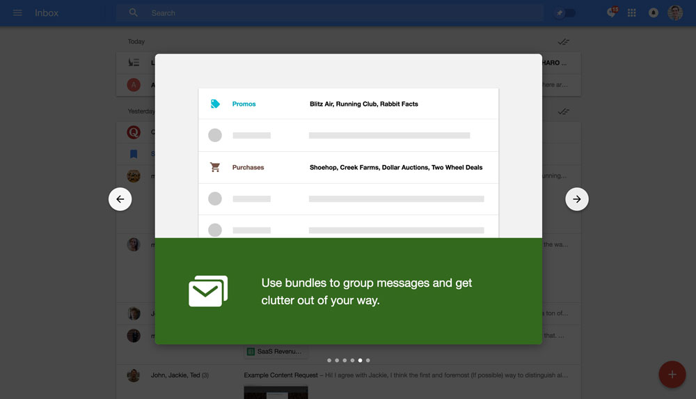 Google Inbox's walkthrough modals - step 5