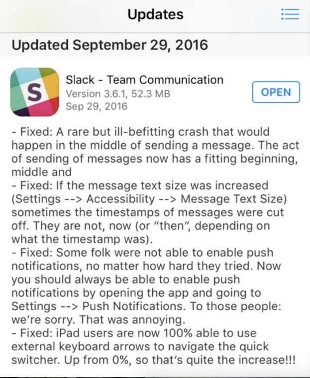 Slack release note