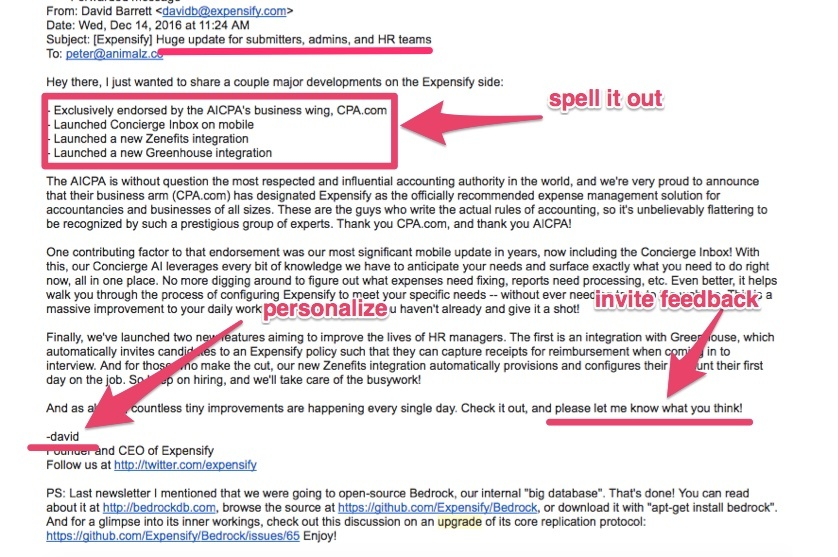 expensify release note email