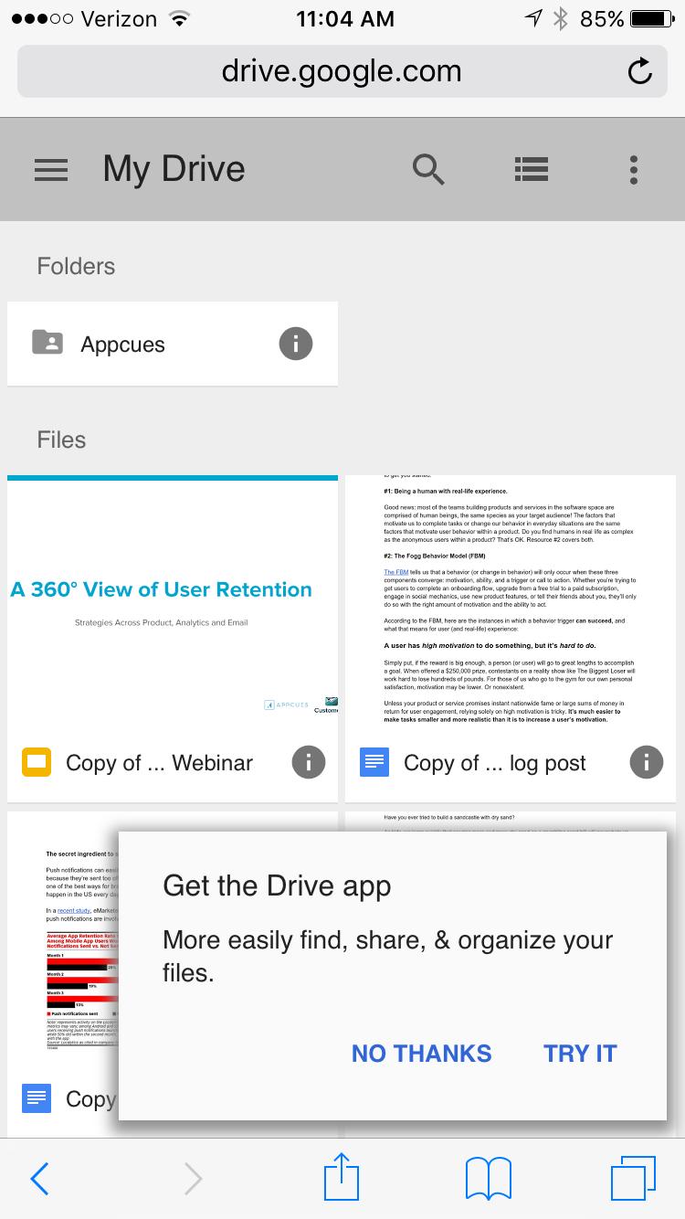 Google Drive slideout