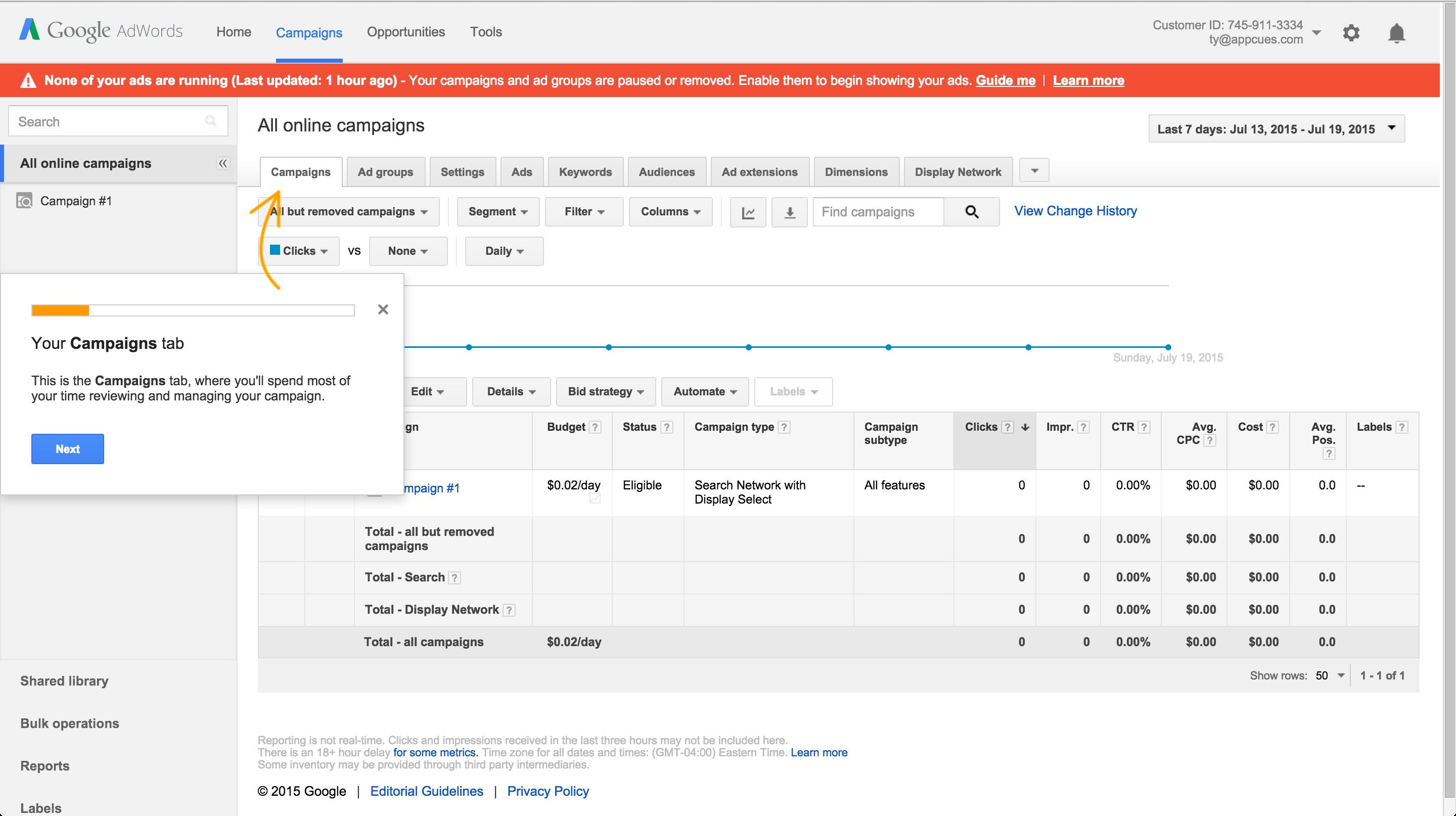 Adwords onboarding tour step 2