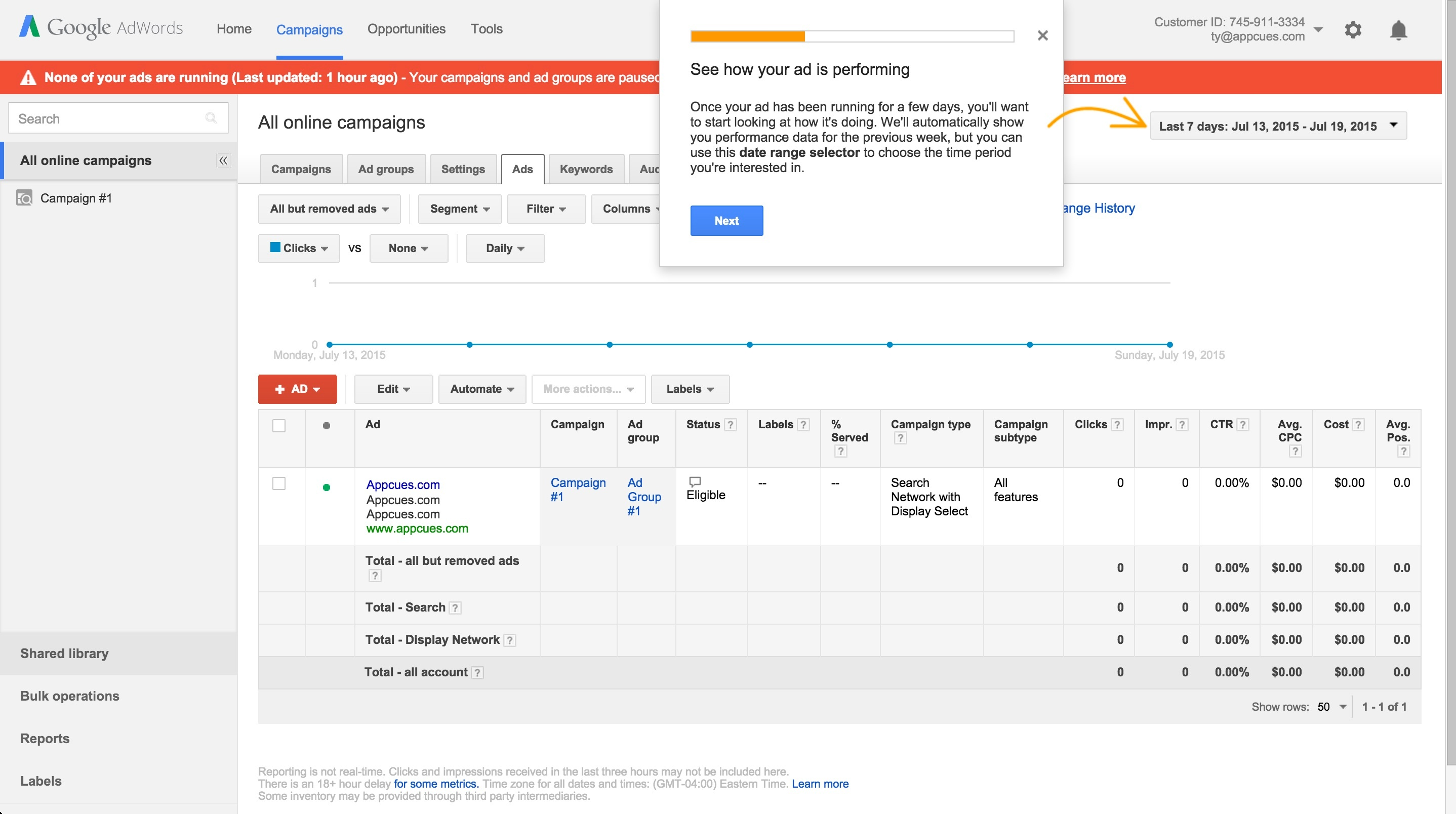 Adwords onboarding tour step 5