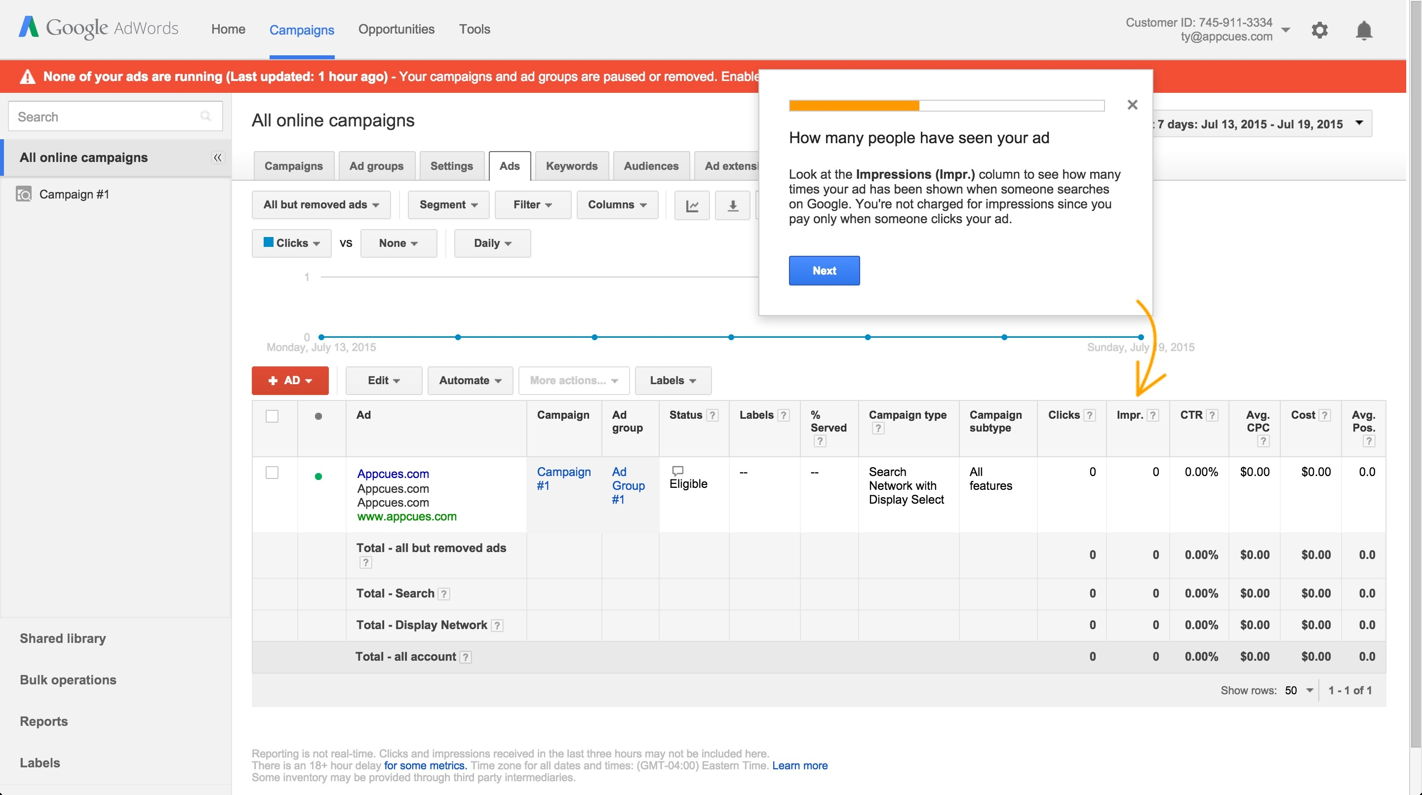 Adwords onboarding tour step 6