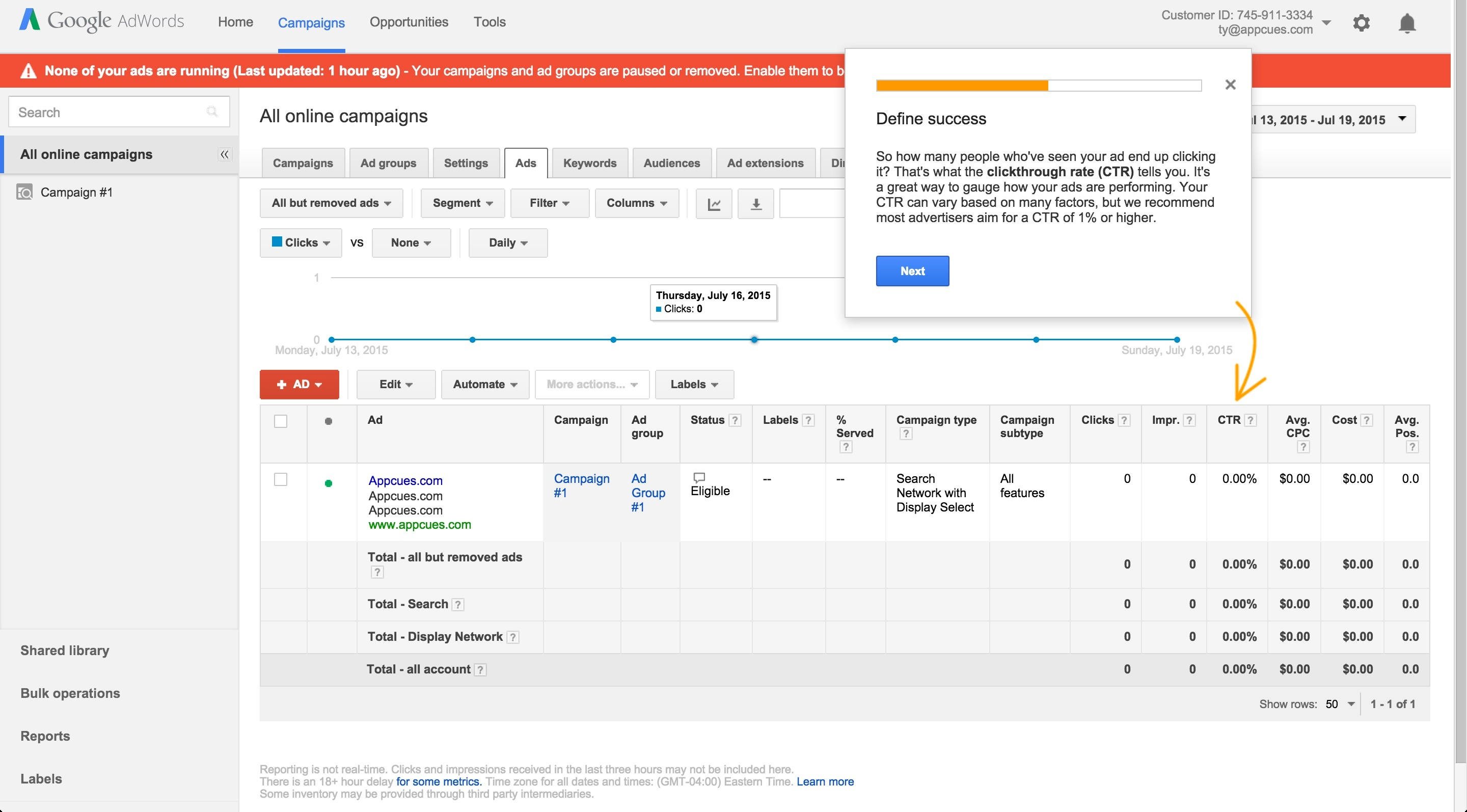 Adwords onboarding tour step 8