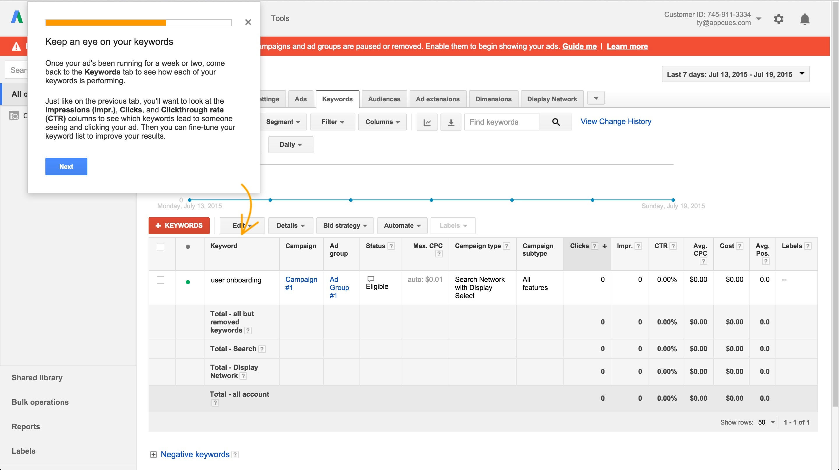Adwords onboarding tour step 10