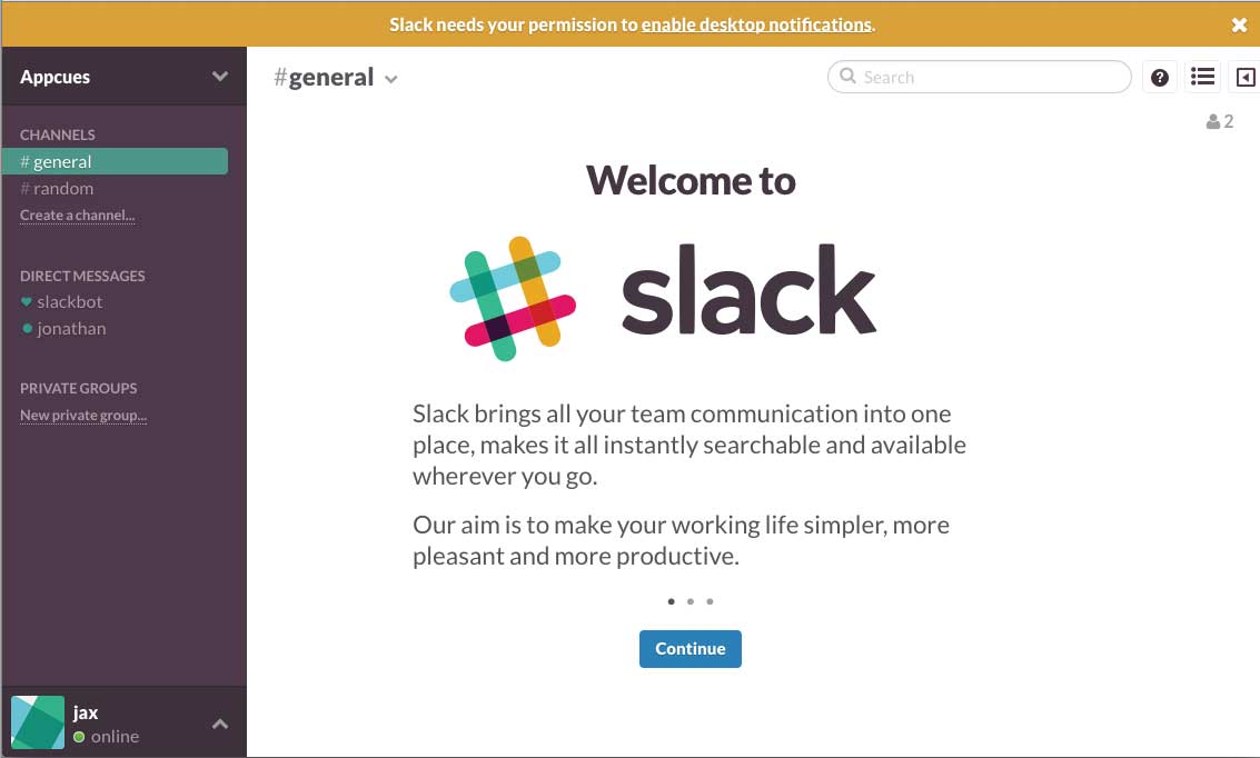 Slack old onboarding welcome screen