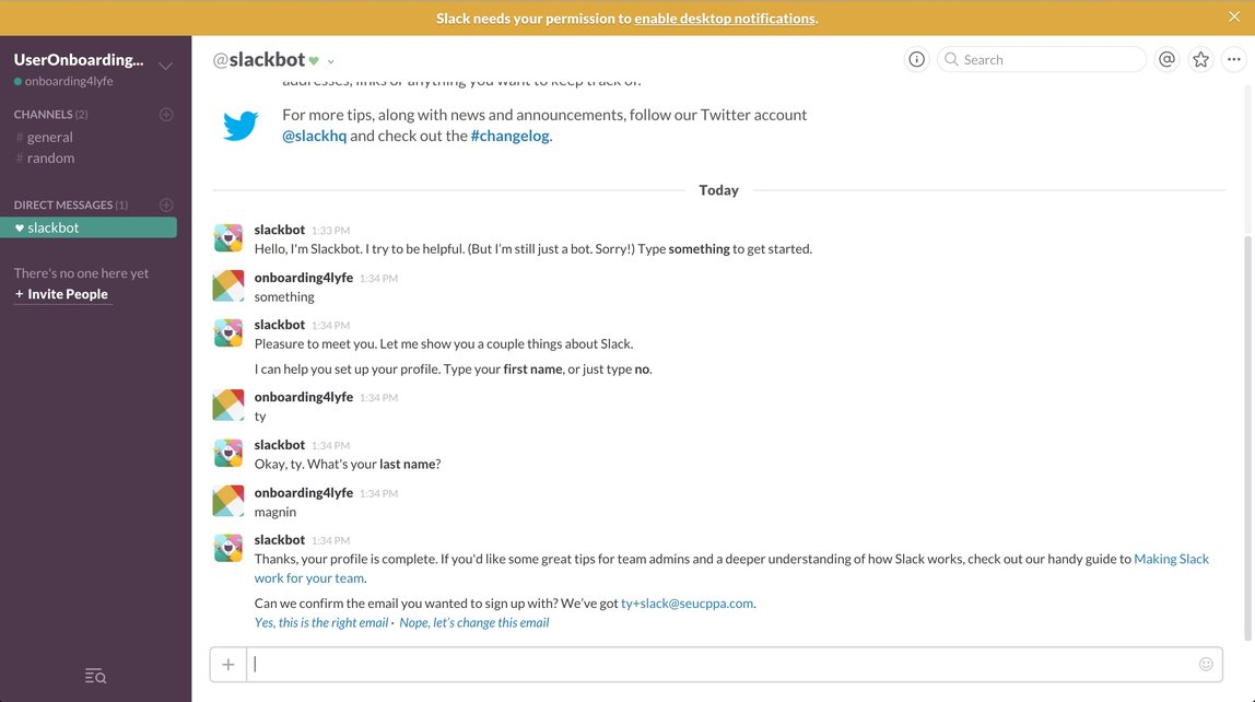 Slack user onboarding via Slackbot