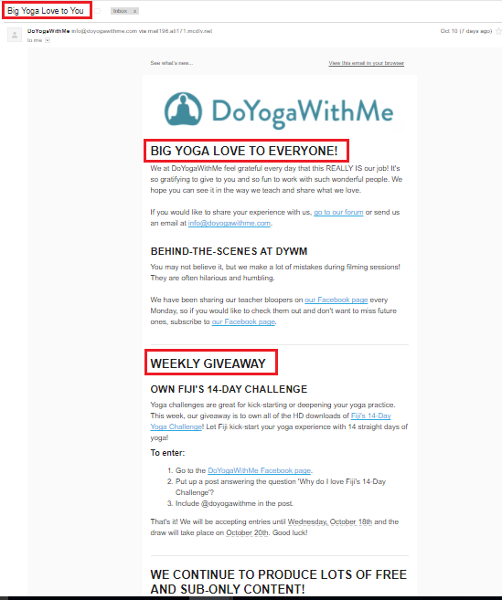 Before Customers Even Open The Email, They See The Warm Subject Of Big Yoga  Love To You.  Appreciation Email