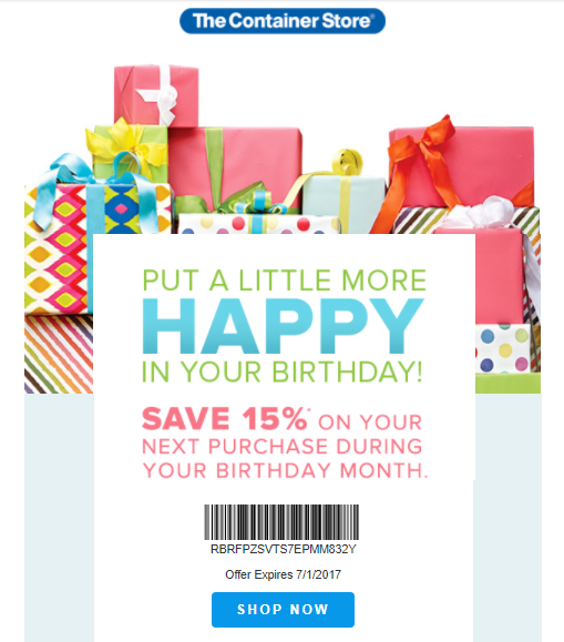 The Container Store's birthday email for customer retention