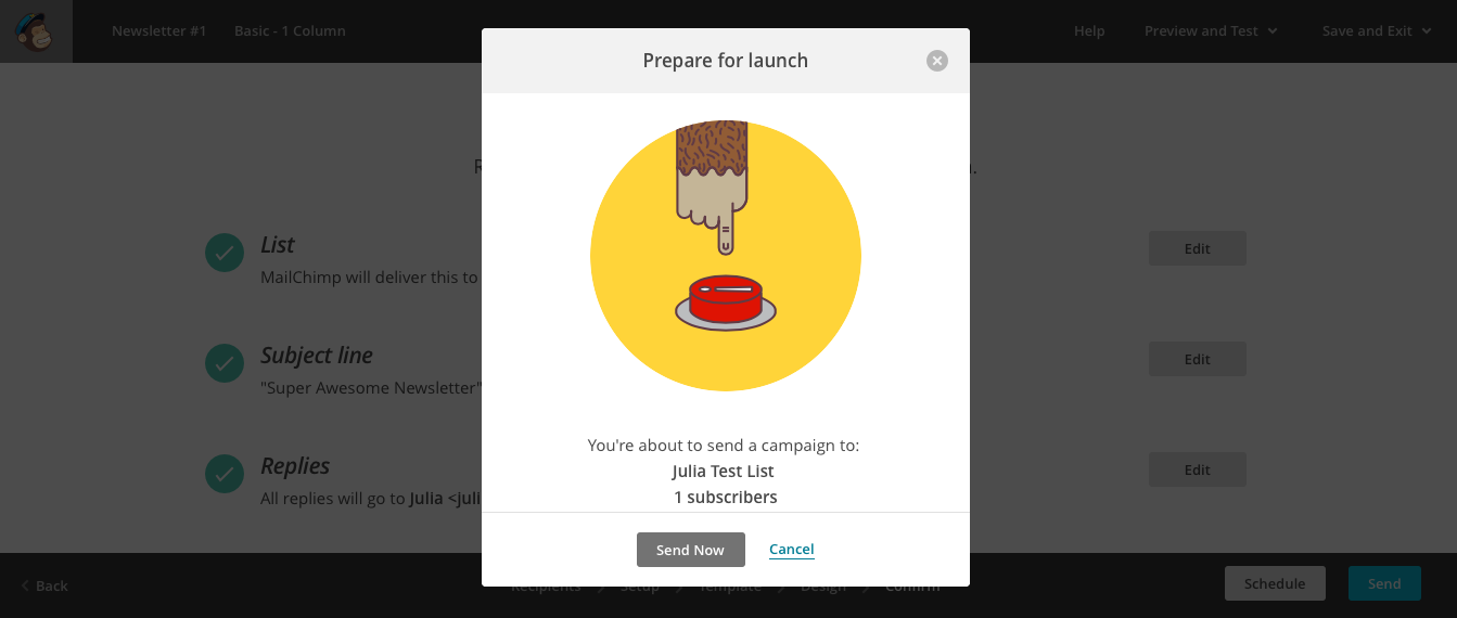 MailChimp Modal Send Email
