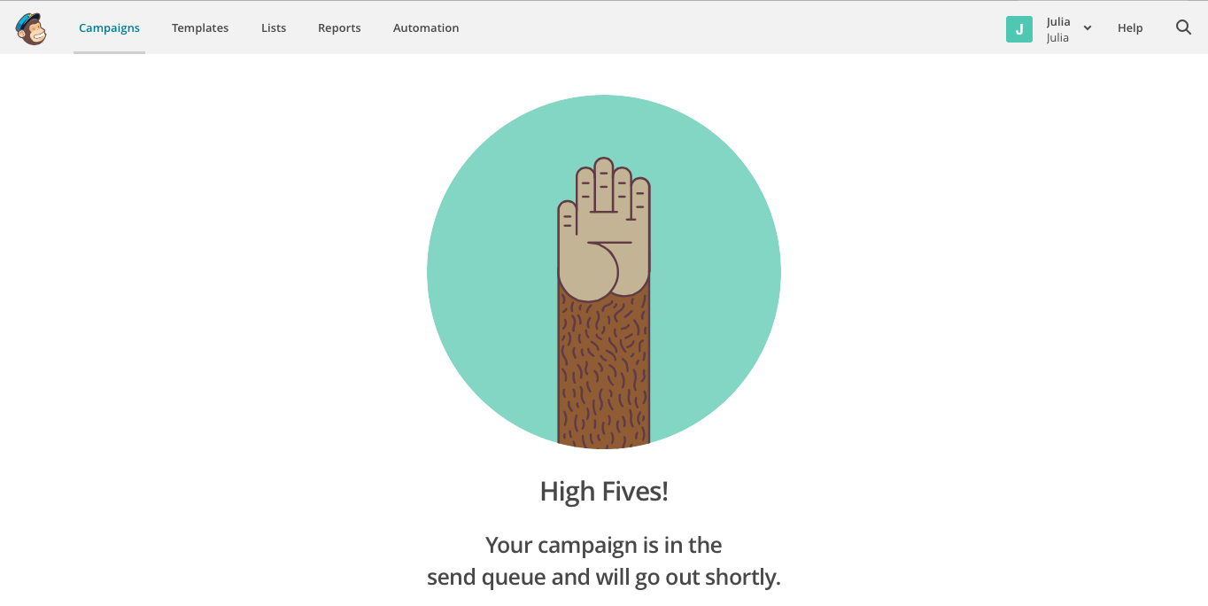 MailChimp High Fives celebration