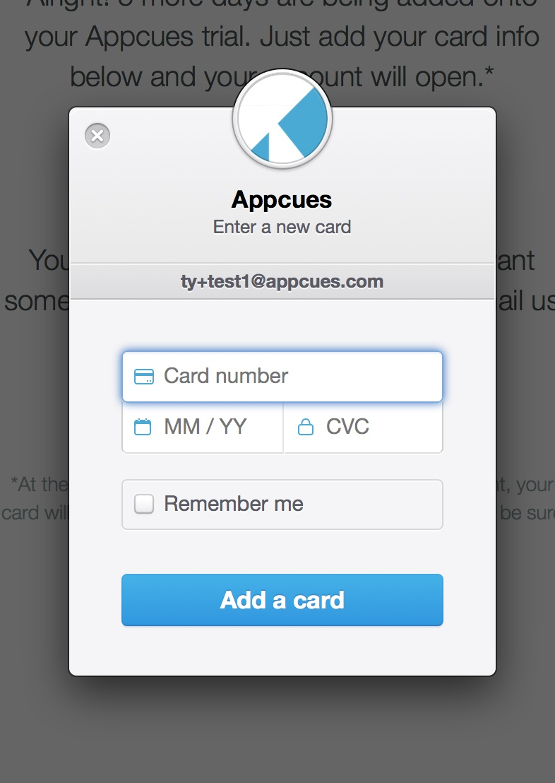 Stripe form on Appcues trial