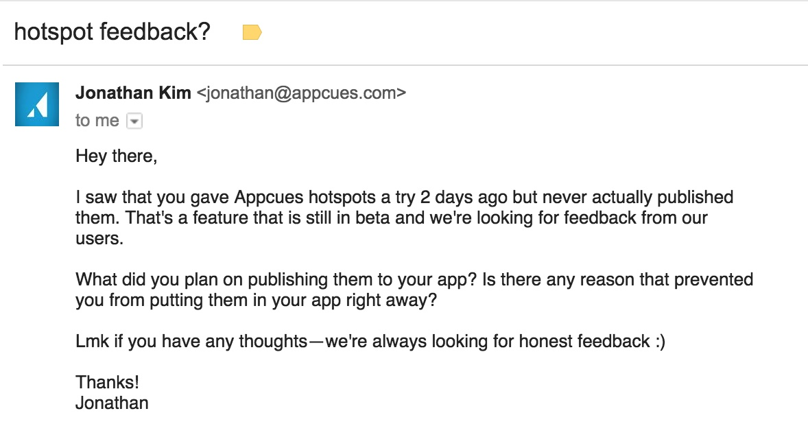 automated product feedback email