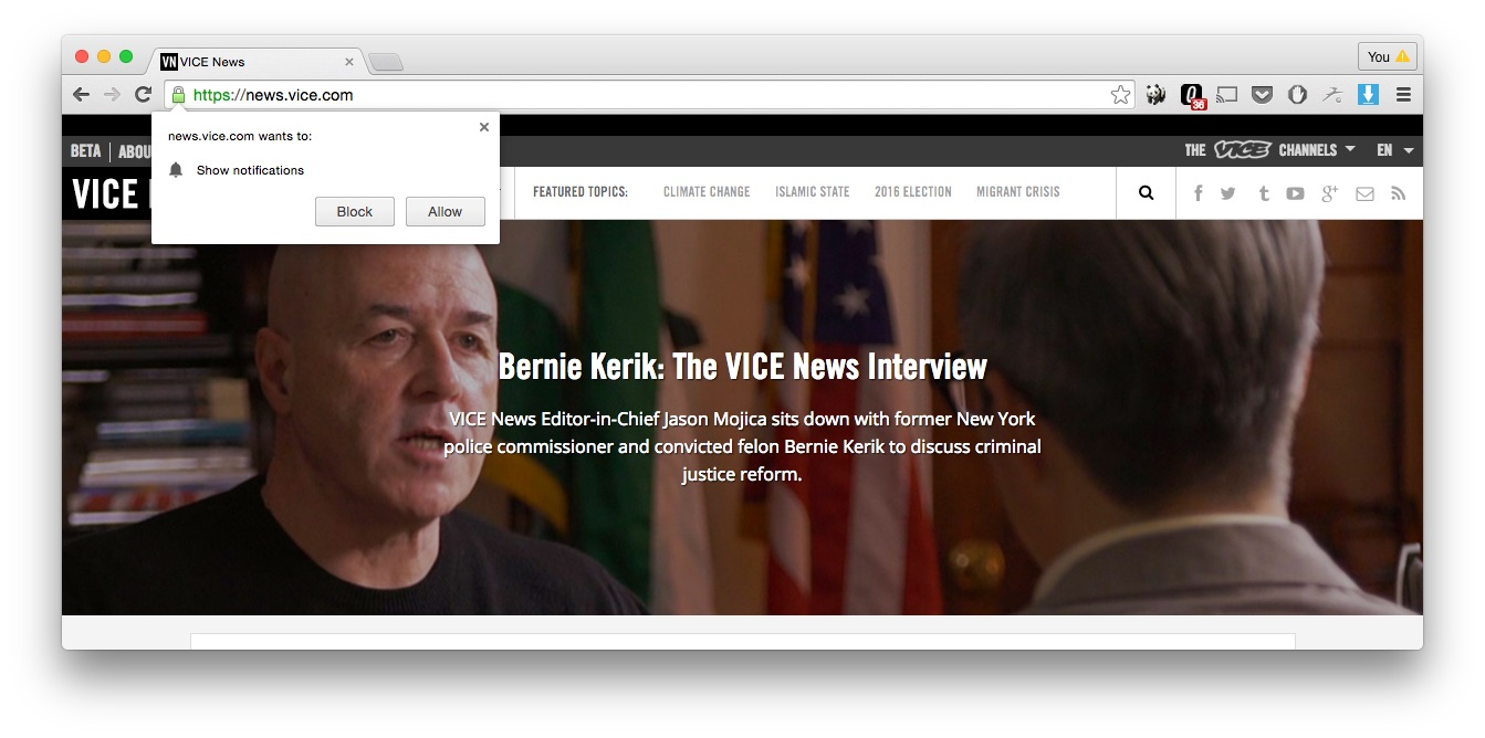 Vice News browser identification