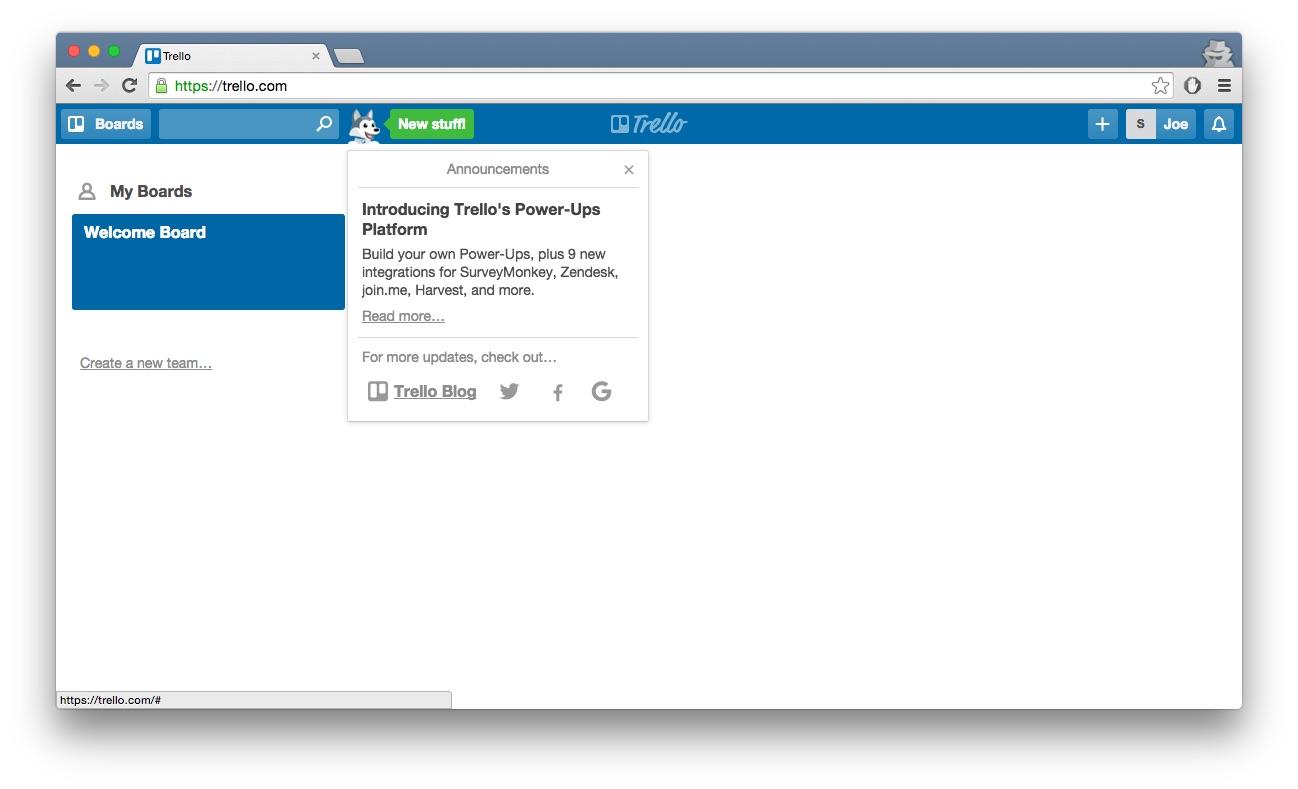 Trello feature update tab