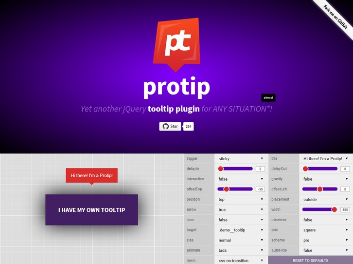 Protio - jQuery Tooltip Plugin