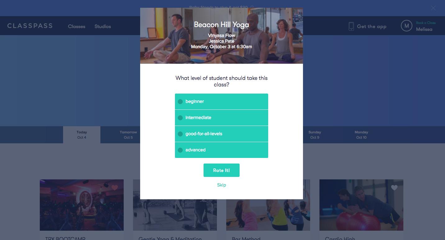Classpass feedback UI modal