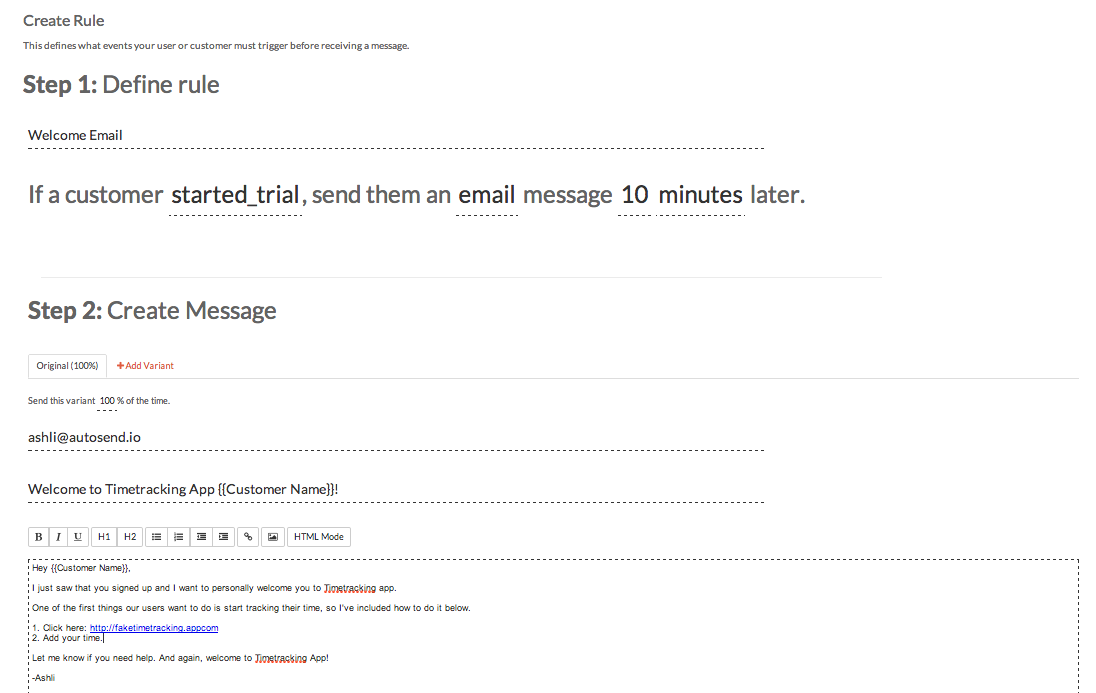 personalize email autosend.io