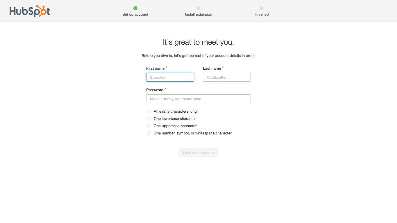 HubSpot user onboarding new user profile