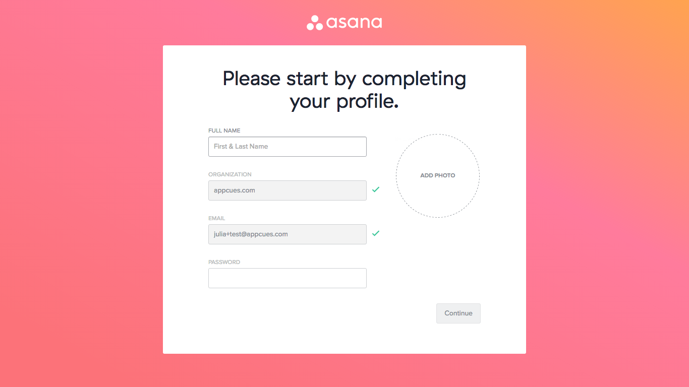 Asana onboarding profile completion