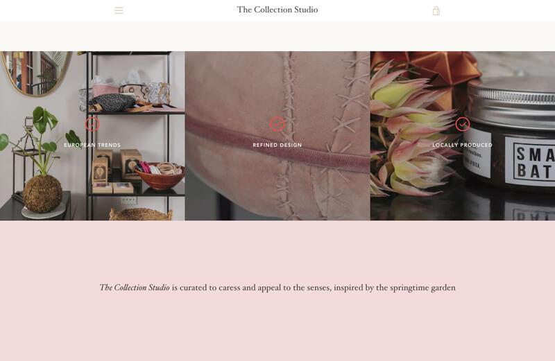 Screenshot of the collection studio website