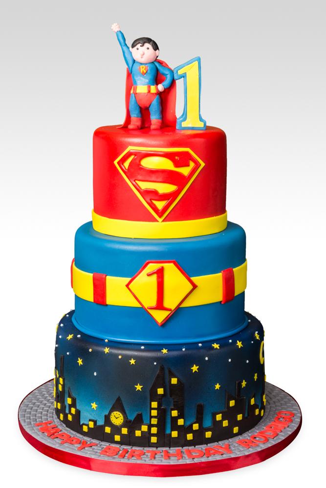 3 Tier Superman Birthday Cake