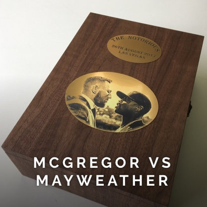 This stunning wooden box was made in honour of Conor 'The Notorious' McGregor's fight with Floyd Mayweather Jr.