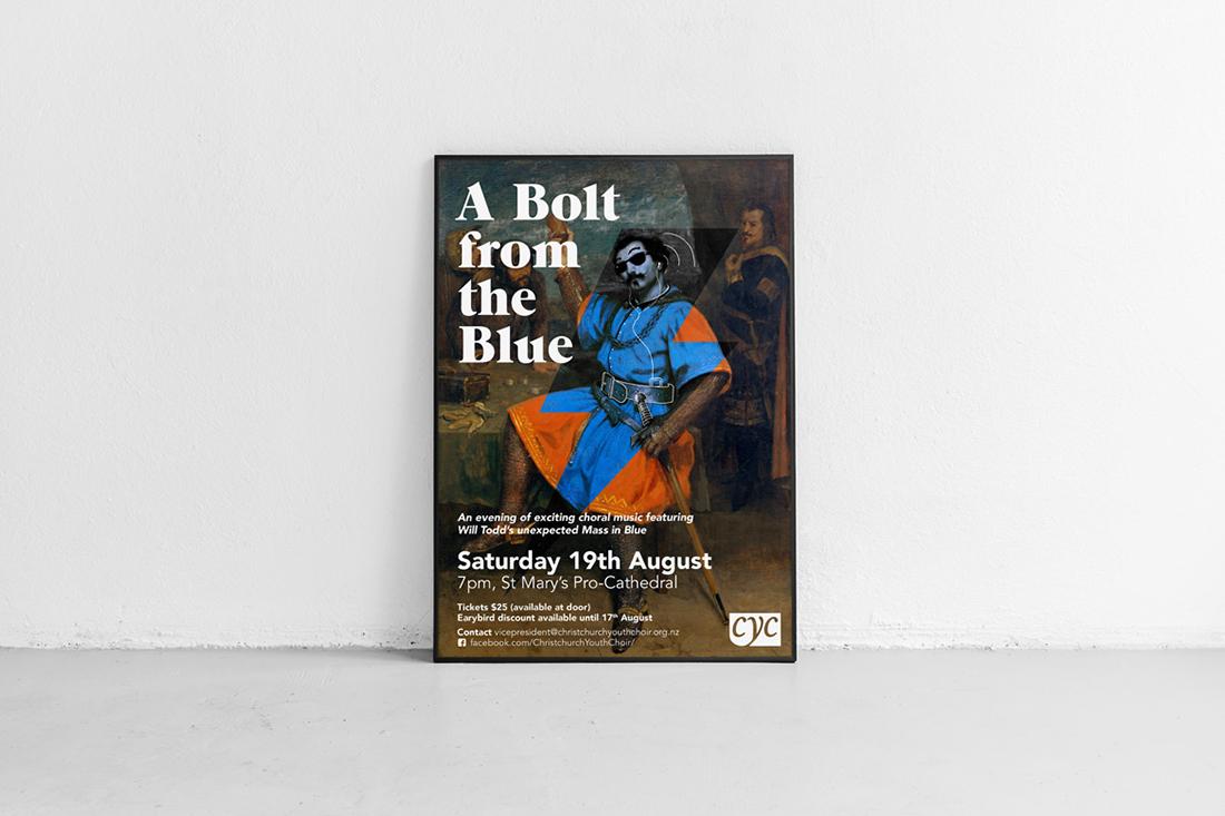 Concert poster in metal frame