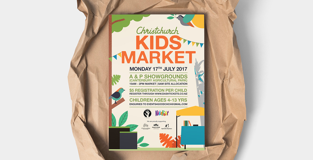 Kids market poster in brown paper wrapping