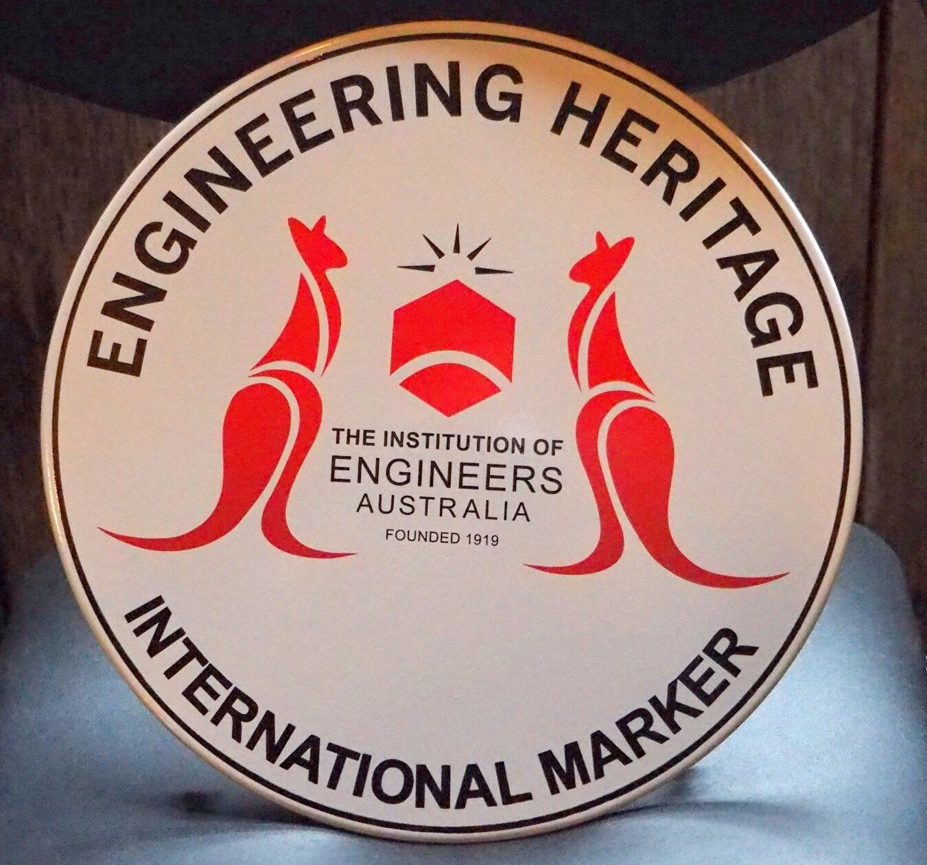 The Engineering Heritage International Marker, presented to the West Coast Wilderness Railway in recognition of its significance as an engineering feat of global importance.