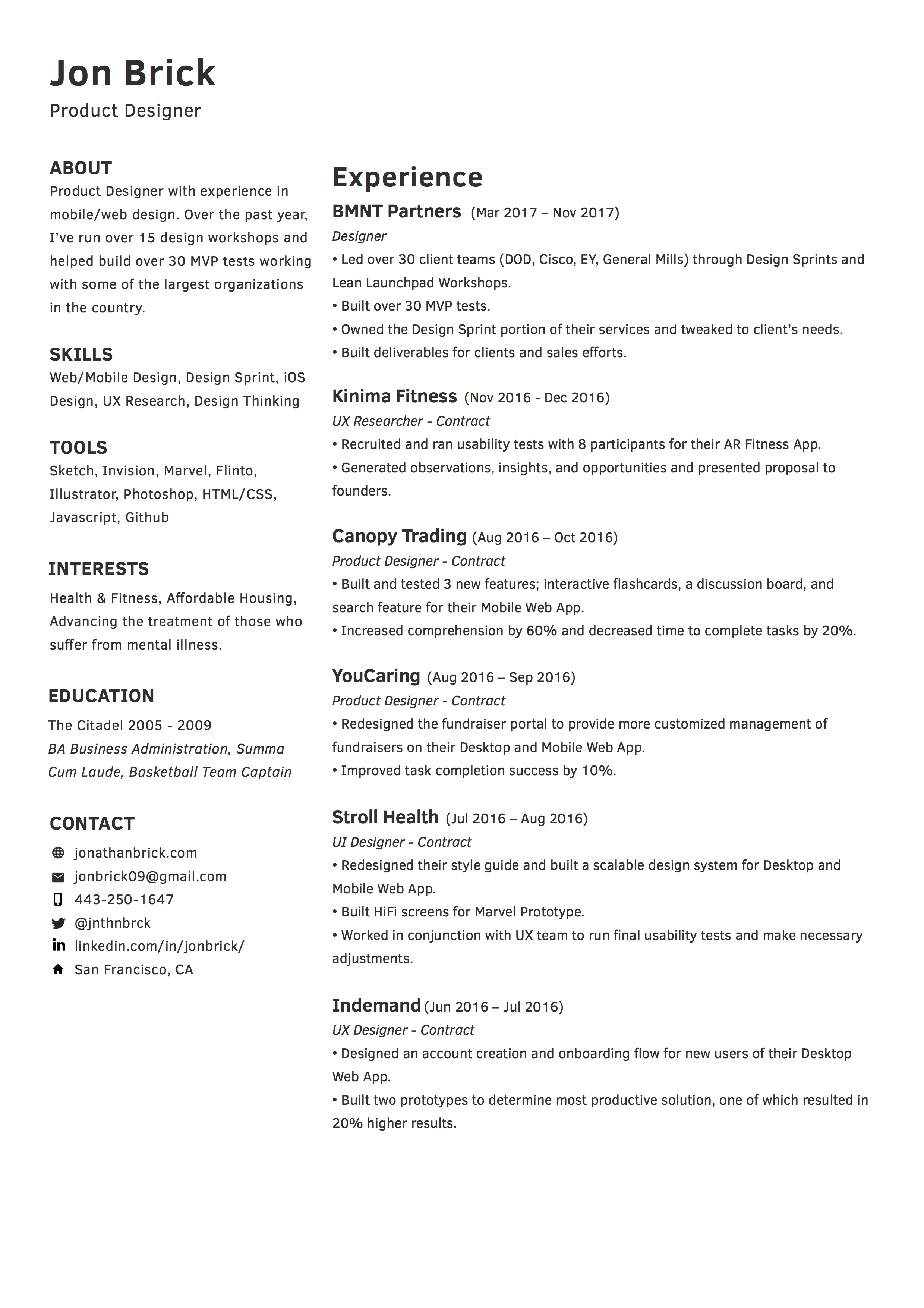 Product Designer Resume Resume Mark Stanton Product Designer