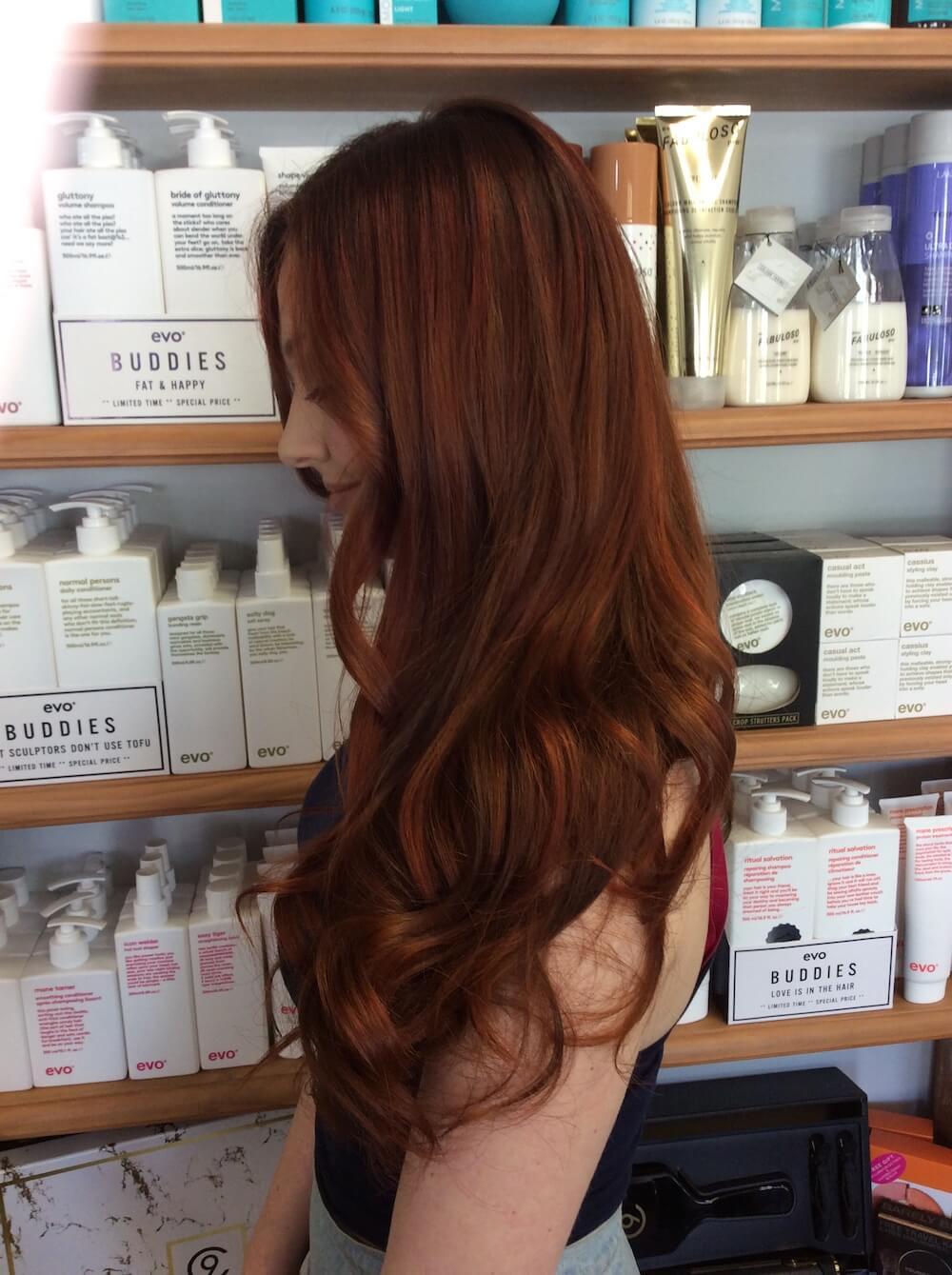 Auburn hair colour, Kinks salon