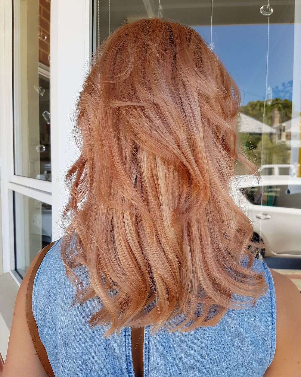 Rose gold hair colour, Kinks salon