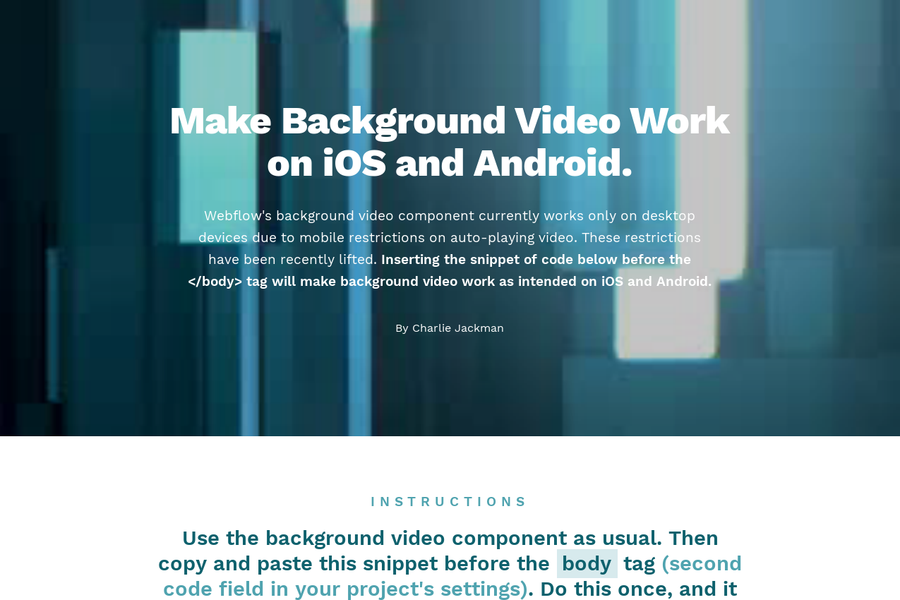 Make Webflow's Background Video PLAY on iOS and Android - Tips