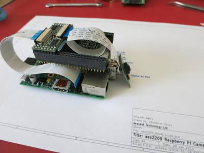 Raspberry Pi with aes220 High-Speed USB FPGA board and Pi camera