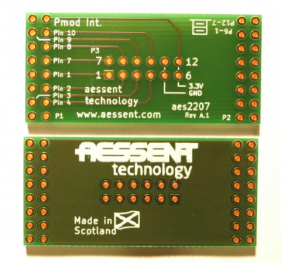 The aes2207 serves as an interface between Pmod modules and the aes220.