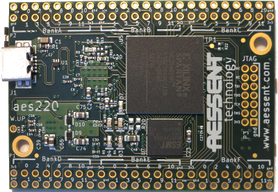 Top view of the aes220 USB FPGA board