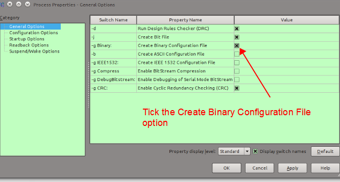 Figure 9. Create the binary conifguration file