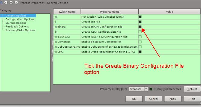 Figure 9. Create the binary conifguration file