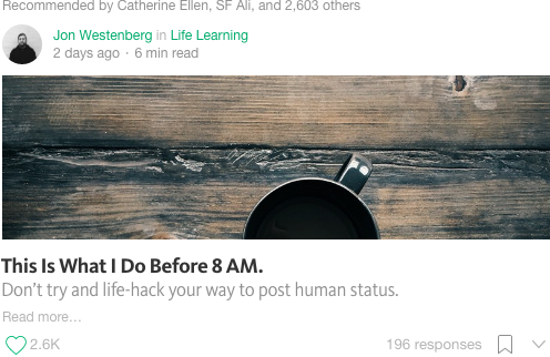 Screenshot of a popular medium article