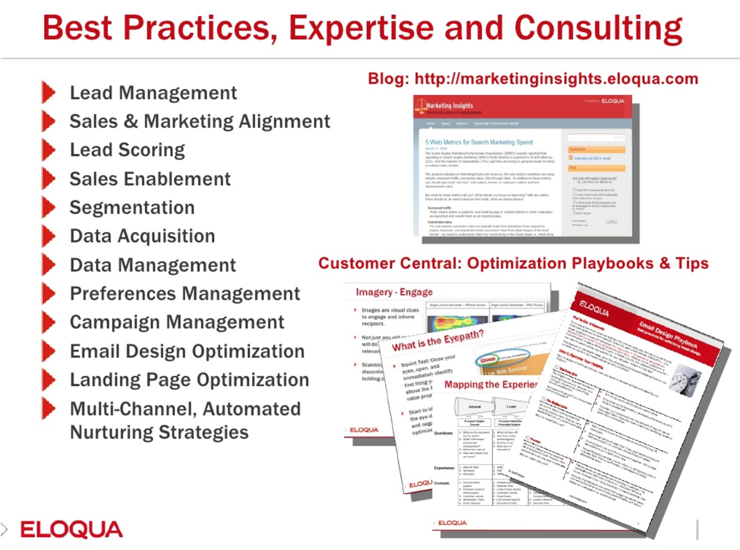 Presentation slide from Eloqua for enterprises