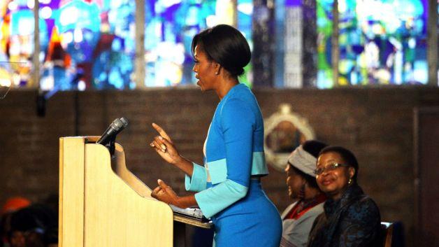 Woman presenting at church